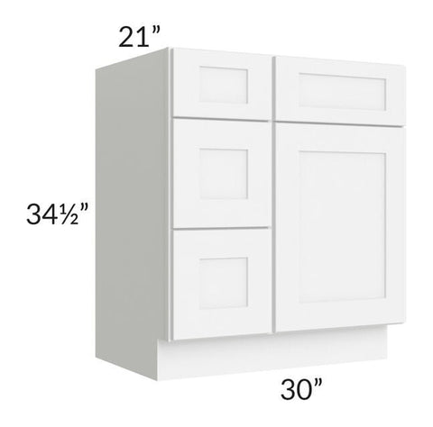 "Brilliant White Shaker 30"" Vanity Base Cabinet (Drawers on Left)"