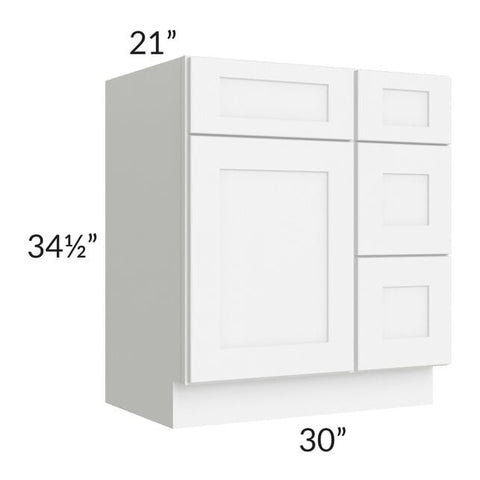 "Brilliant White Shaker 30"" Vanity Base Cabinet (Drawers on Right)"