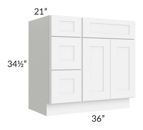 "Brilliant White Shaker 36"" Vanity Base Cabinet (Drawers on Left)"
