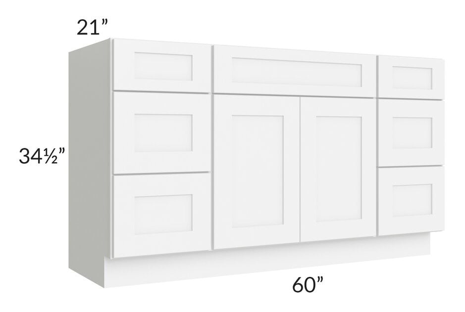 "Brilliant White Shaker 60"" Vanity Base Cabinet"