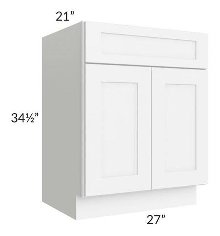 "Brilliant White Shaker 27"" Vanity Base Cabinet"