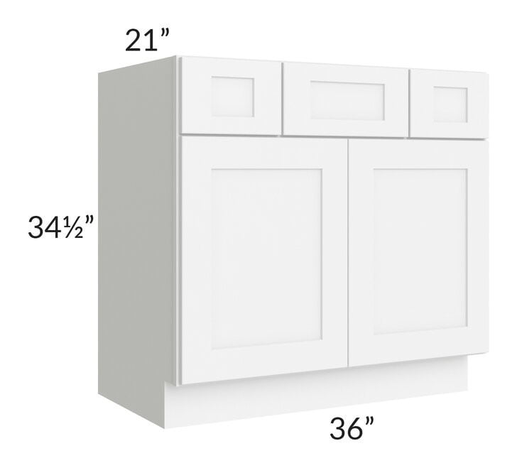 "Brilliant White Shaker 36"" Vanity Base Cabinet"