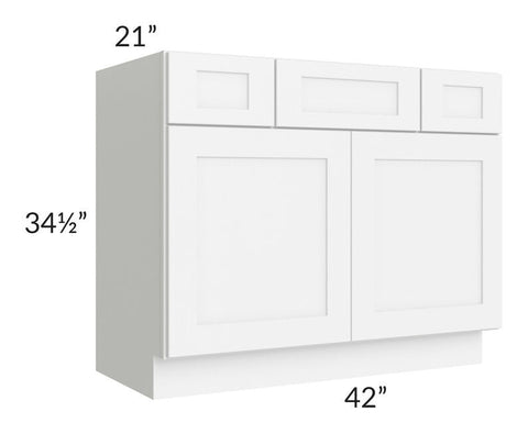 "Brilliant White Shaker 42"" Vanity Base Cabinet"