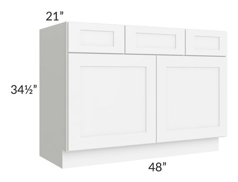 "Brilliant White Shaker 48"" Vanity Base Cabinet"