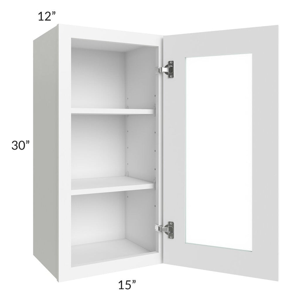 Brilliant White Shaker 15x30 Wall Glass Door Cabinet (Prepped for Glass Doors)