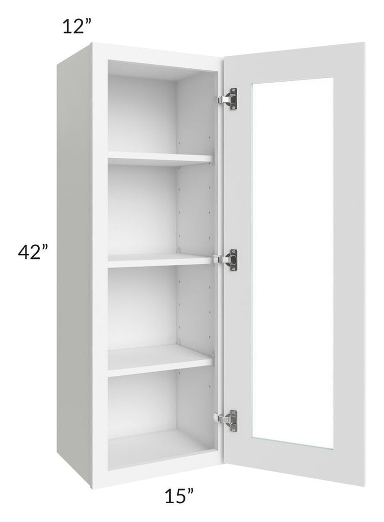 Brilliant White Shaker 15x42 Wall Glass Door Cabinet (Prepped for Glass Doors)