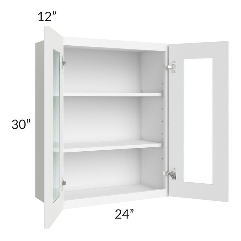 Brilliant White Shaker 24x30 Wall Glass Door Cabinet (Prepped for Glass Doors)