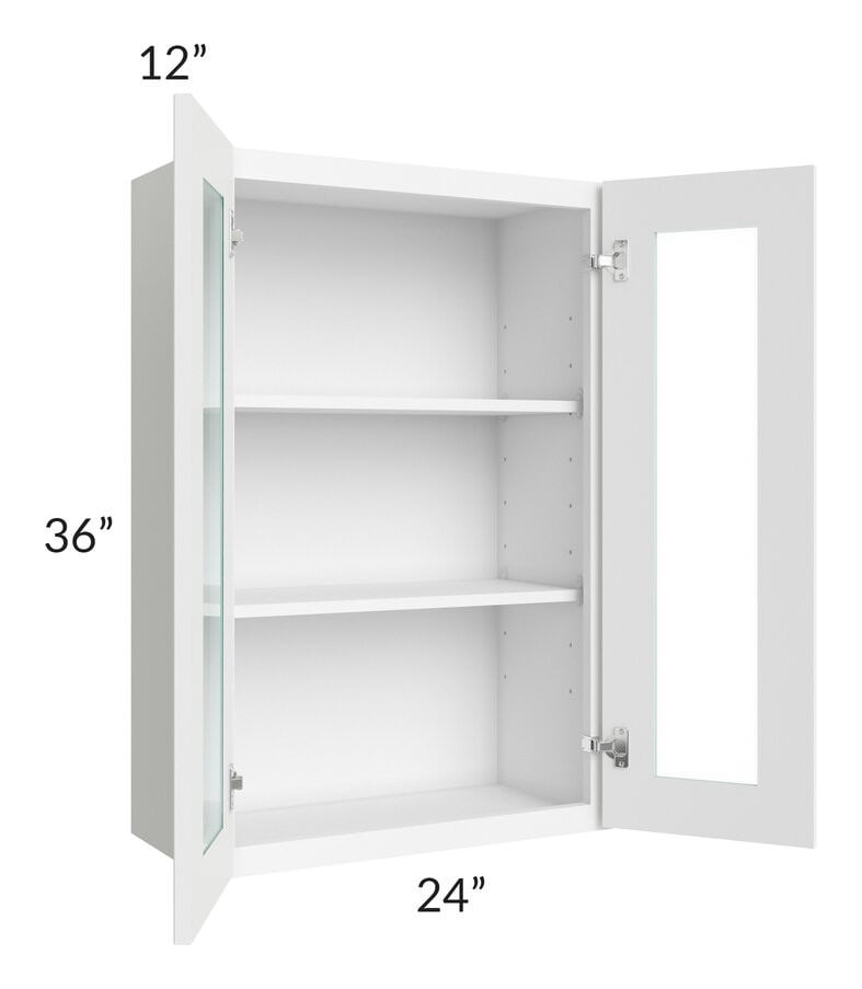 Brilliant White Shaker 24x36 Wall Glass Door Cabinet (Prepped for Glass Doors)