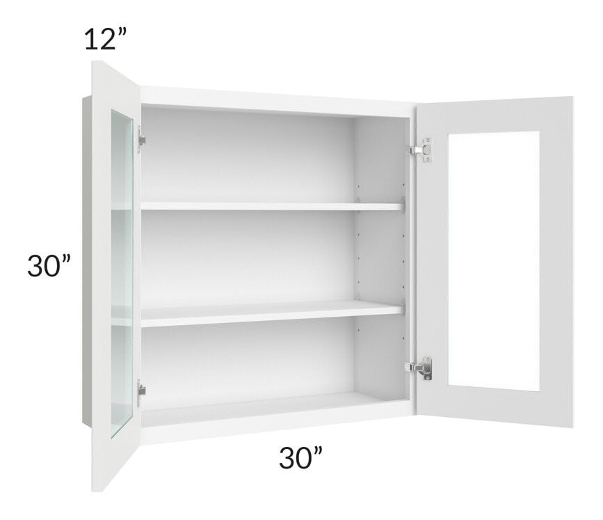 Brilliant White Shaker 30x30 Wall Glass Door Cabinet (Prepped for Glass Doors)