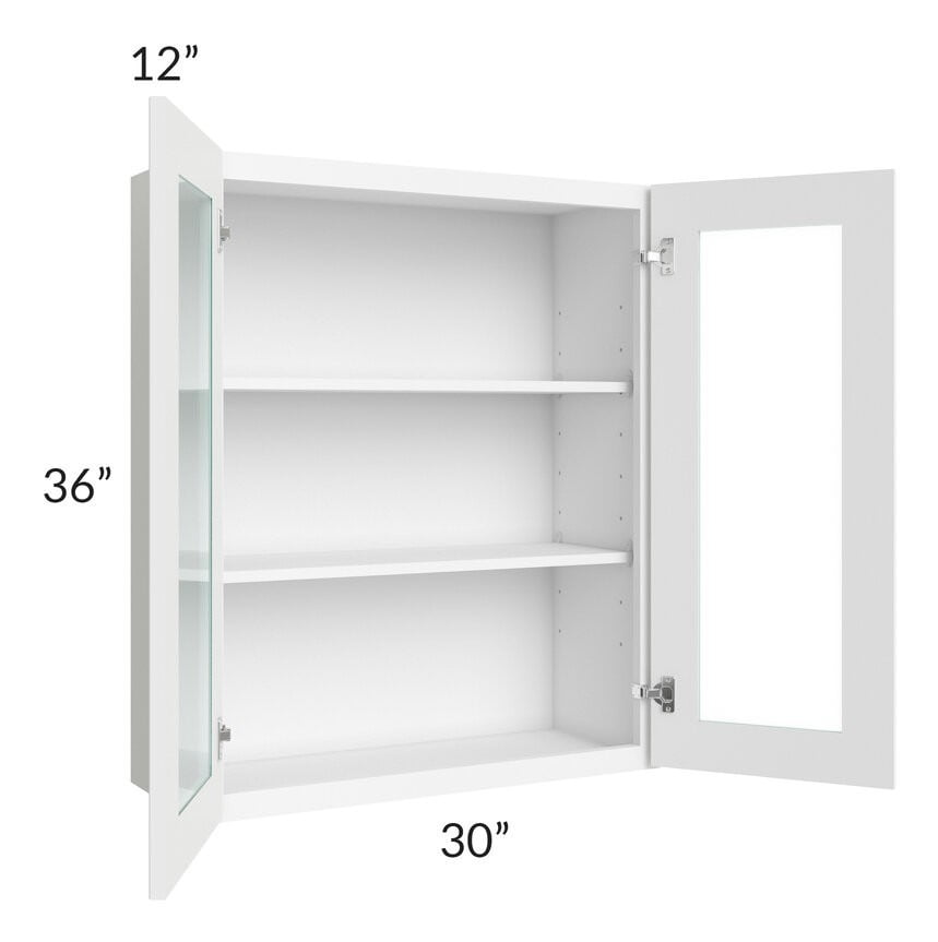 Brilliant White Shaker 30x36 Wall Glass Door Cabinet (Prepped for Glass Doors)