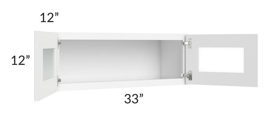 Brilliant White Shaker 33x12 Decorative Wall Cabinet