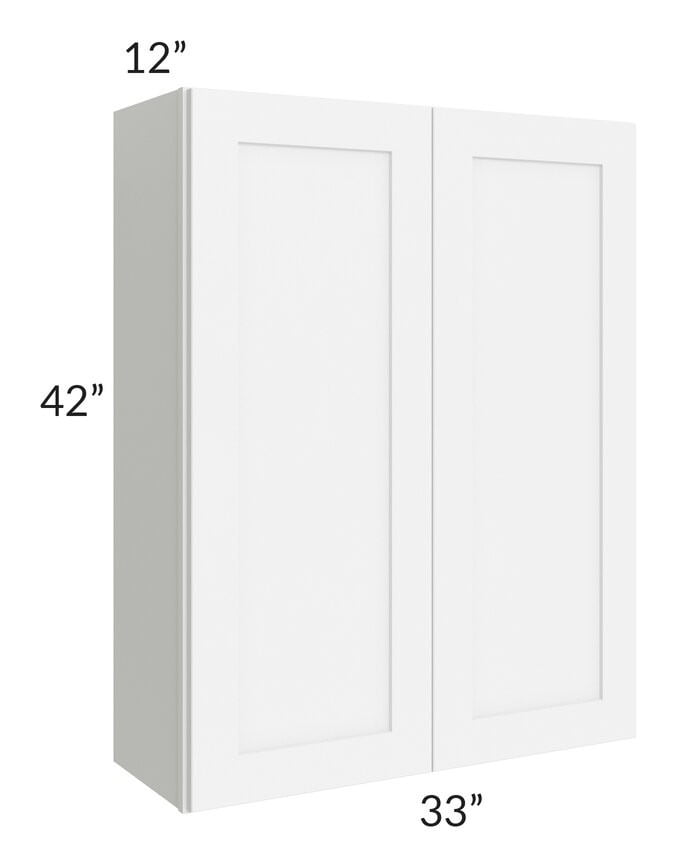 Brilliant White Shaker 33x42 Wall Cabinet