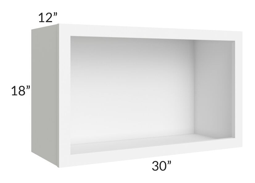 "Brilliant White Shaker 30"" Wall Open Cabinet"