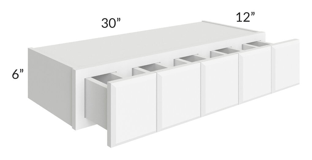 Brilliant White Shaker 30x06 Wall Spice Drawer Cabinet