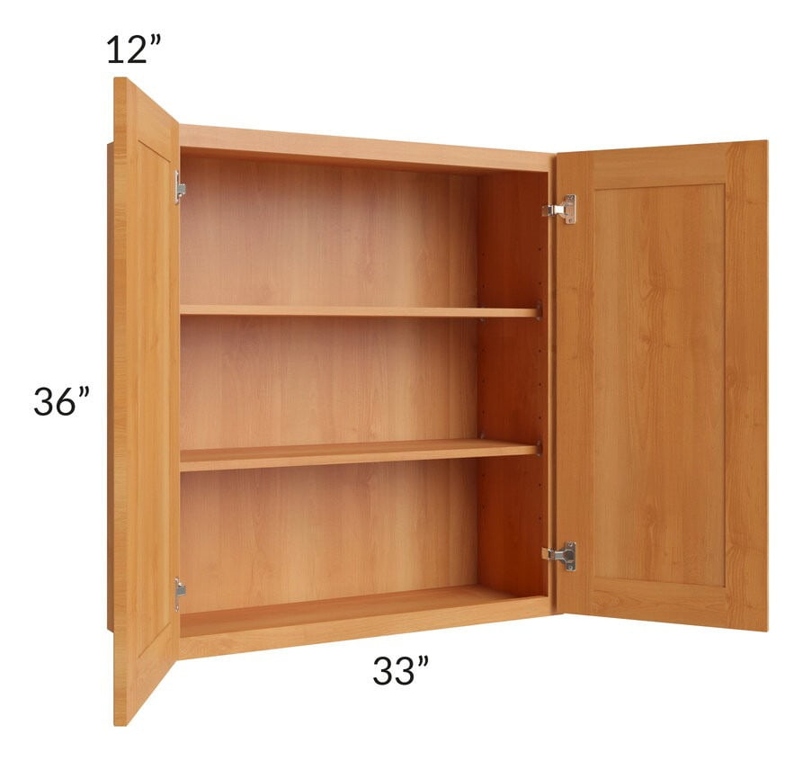 Shaker Honey 33x36 Wall Cabinet