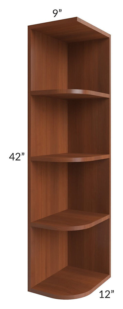 Phoenix Caramel Glaze 9x42 Wall End Shelf Cabinet