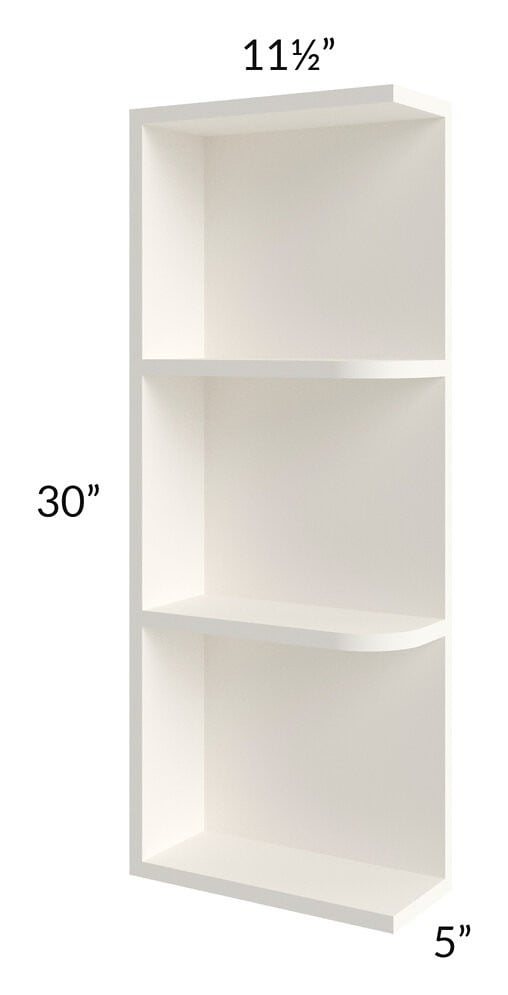 Signature Vanilla Glaze 05x30 Wall End Shelf Cabinet