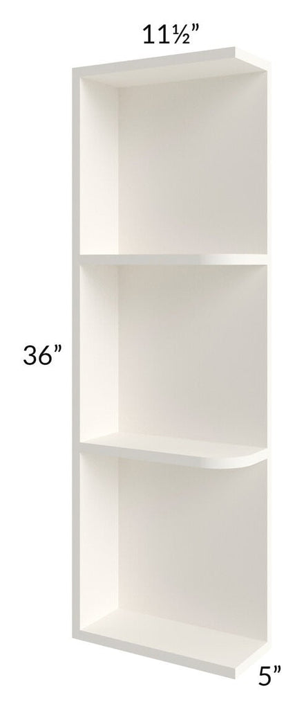 Signature Vanilla Glaze 05x36 Wall End Shelf Cabinet