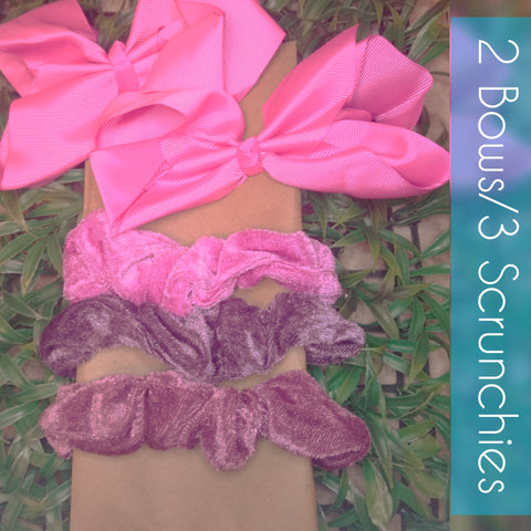 "NWT 6"" Hair Bows/Scrunchies Set"