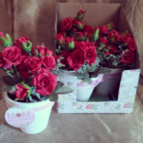 Faux Potted Roses