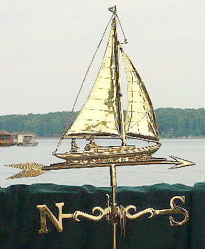 Sailboat w/ People Weather Vane - Wrought Iron Base