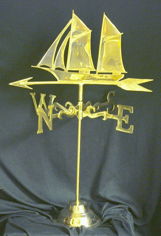 Sailboat Weather Vane - Wrought Iron Base