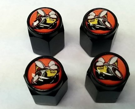 4 Dodge Hemi Scat Pack Valve Stem Caps (Black - Modern Orange)