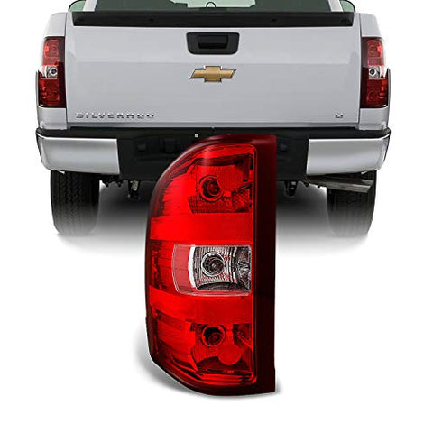 For Chevy Silverado Pickup Truck Red Clear Tail Light Tail Lamp Brake Lamp Driver Left Side Replacement