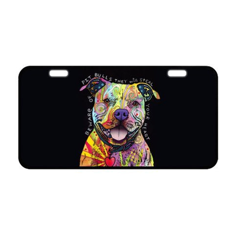 Oil Painting Pit Bull Puppy Dog Metal License Plate For Car,Car Tag,Auto Tag 6.1  X 11.8