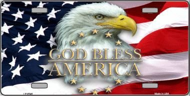 Smart Blonde Lp-5348 God Bless America Eagle Novelty Metal License Plate