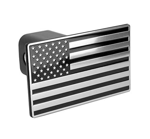 Everhitch Us American Black &Amp; Chrome Flag Emblem Trailer Metal Hitch Cover Fits 2  Receivers
