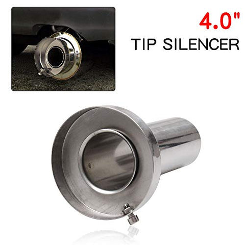 Ryanstar Universal Stainless Steel 4  Round Exhaust Muffler Exhaust Tip Removable Silencer Inner Silencer For Acura Honda Ford