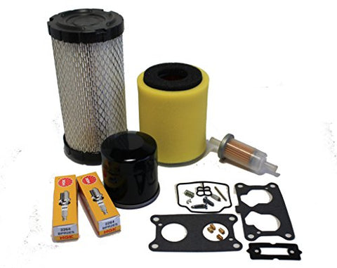 Kawasaki Mule 3000/3010/ 3020 Tune Up Kit (Carburetor Rebuild Kit, Air, Oil, Fuel Filter, Spark Plugs)