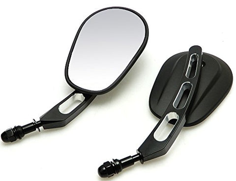 Hoosier Garage - Oem Quality Black Motorcycle Mirrors - Billet Stem - Harley Davidson Flhx Street Glide Flht Electra Glide Road Glide Road King - Fast Priority Mail Shipping