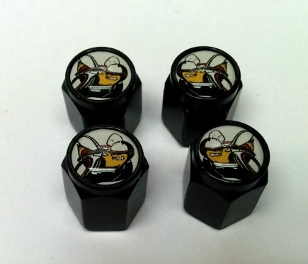 4 Dodge Hemi Scat Pack Valve Stem Caps (Black - Modern)