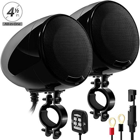 Gohawk An4-X 600W 2 Channel All-In-One Amplifier 4.5  Full Range Waterproof Bluetooth Motorcycle Stereo Speakers Audio Amp System W/ Aux For 1-1.5  Handlebar Harley Cruiser Can-Am Atv Utv Rzr Polaris