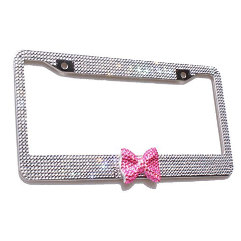 Tasiro 7 Row Pure Handmade Bling Bling Rhinestones Stainless Steel Metal License Plate Frame With Hot Pink Bow Bonus 2 Matching Screws&Amp;Caps (Clear / Hot Pink Bowtie)