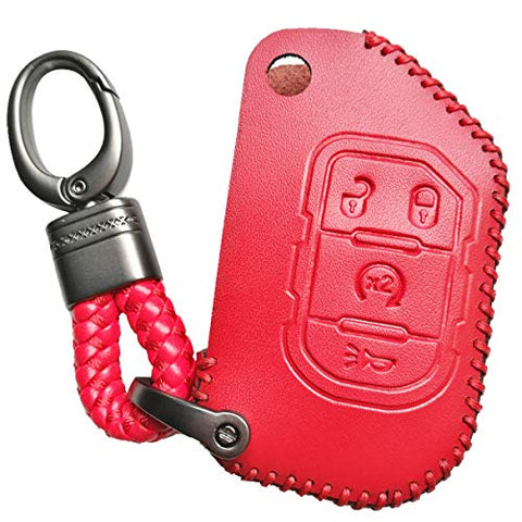 Alegender 4 Buttons Flip Key Leather Cover Case Fob Skin Bag Remote Jacket Protector Fit For 2018 2019 2020 Jeep Wrangler Jl Jlu Rubicon Gladiator Jt 68292944Aa Red