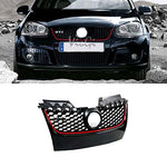 Jwn 1Pc Fit 06-09 Volkswagen Gti / Jetta Mk5 (Except Rabbit / R32) Black With Red Strip Abs Plastic Honeycomb Mesh Style Grille With Chrome Gti Emblem