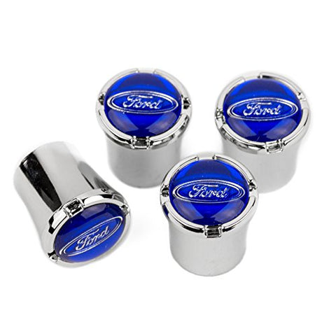 High-End Motorsports Ford Chrome Valve Stem Caps - Blue Ford Oval Logo - Made In Usa