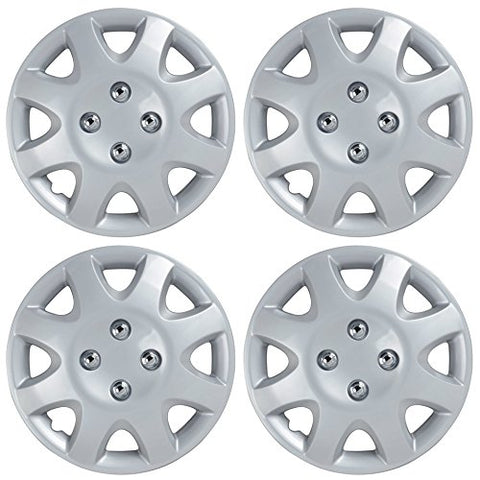 Bdk Honda Civic Style Hubcaps Wheel Cover, 14  Silver Replica Cover, Oem Factory Replacement (4 Pieces) 1998-2002 Style