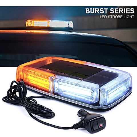 Xprite Burst Series 12V Cob Led White &Amp; Amber Roof Top Emergency Hazard Warning Led Mini Strobe Beacon Lights Bar W/Magnetic Base, For Snow Plow, Police, Firefighters, Trucks, Vehicles