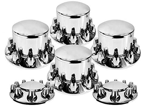Set Of Chrome Front And Rear Axle Wheel Cover 33Mm Screw-On Lug Nuts For Semi Truck (Tr082-Twcs)