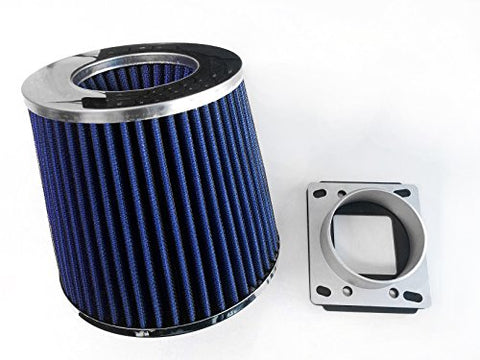 Air Intake Cone Filter + Maf Sensor Adapter For 1984-1991 Bmw E30 3-Series (318/325/M3) (Blue)