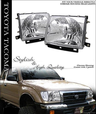 Vxmotor - Jdm Crystal Chrome Head Lights Lamps Left+Right Ks 97-00 Toyota Tacoma 2Wd/4Wd