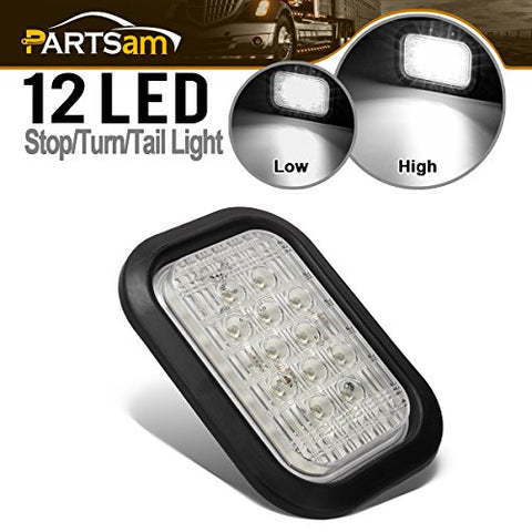 Partsam 5 X3  White Rectangle 12Led Truck Trailer Reverse Backup Tail Running Marker Light Fog Light Grommet Mount Hitch Lights