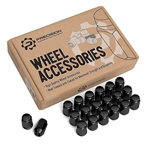 20Pc Black Bulge Lug Nuts, Metric 12X1.5 Thread, 1.4  Length, Conical Cone Taper Acorn Seat Closed End - Installs With 19Mm Or 3/4  Socket - For Many Chevy Buick Chrysler Dodge Gmc Pontiac