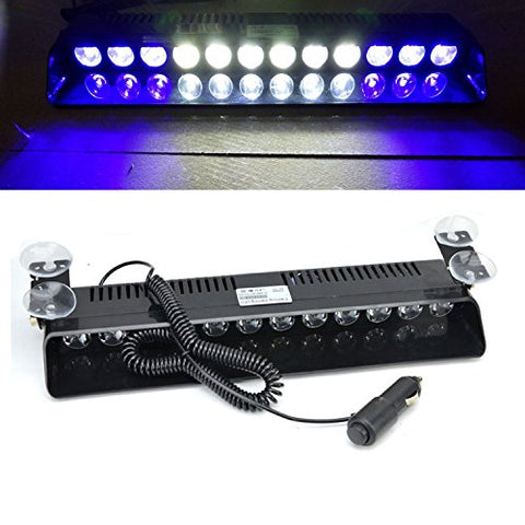 Wecade 12W 12 Leds Car Truck Emergency Strobe Flash Light Windshield Warning Light (Blue/White/White/Blue)