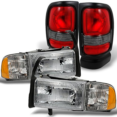 For 1994-2002 Dodge Ram Headlights W/ Corner Lights Pair Set Replacement + Red Clear Tail Lights Combo Sets