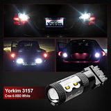 Yorkim Cree 3157 Led Light Bulbs For Brake Lights, Backup Reverse Lights, And Parking Lights - 3056 3156 3057 Led Bulbs With 10 Cree Chips, Voltage 9-30V - White